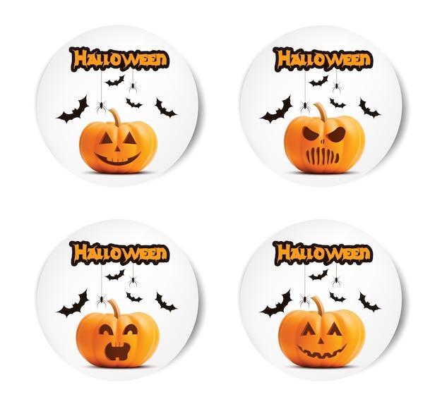 Halloween-kürbisaufkleber eingestellt. Premium Vektoren