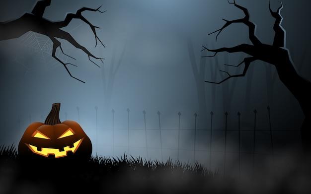 Halloween-kürbise am nebeligen grab Premium Vektoren