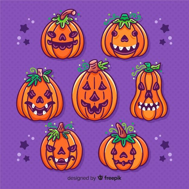 Halloween-kürbise mit blattkronensammlung Kostenlosen Vektoren
