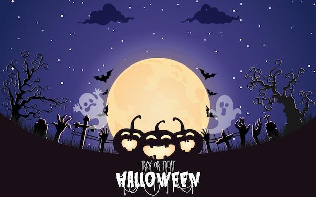 Halloween-kürbise mit gespenstischem wald nachts Premium Vektoren