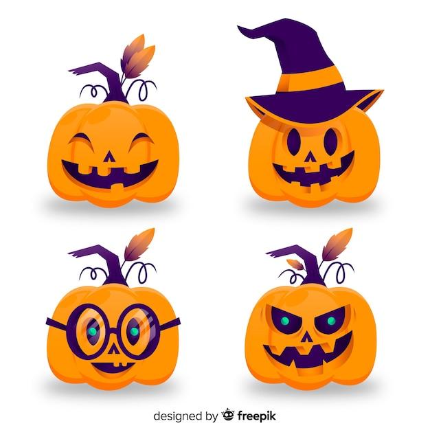 Halloween-kürbissammlung Kostenlosen Vektoren