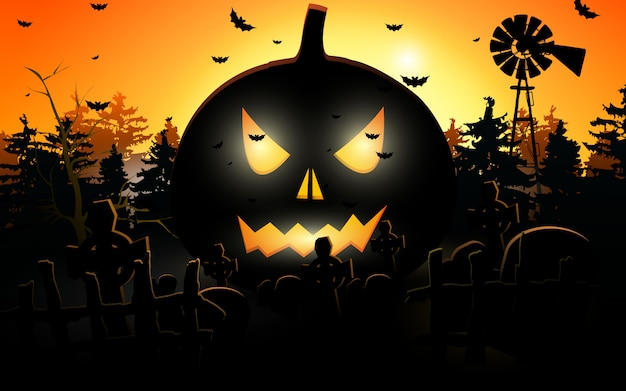 Halloween kürbisse. halloween-hintergrund am nachtwald mit mond Premium Vektoren