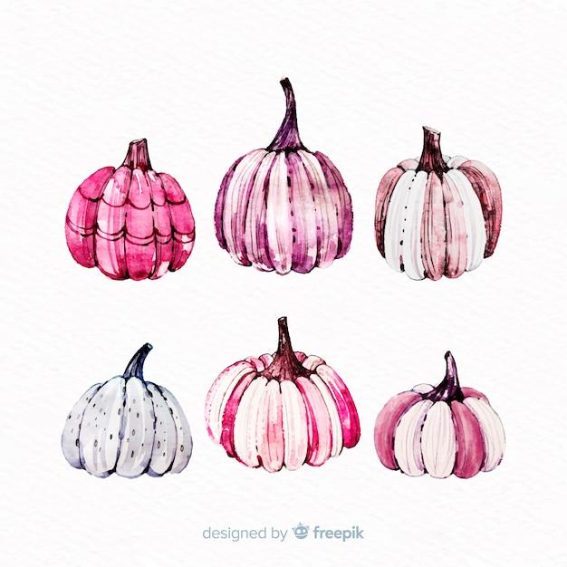 Halloween kürbisse in rosa tönen Kostenlosen Vektoren