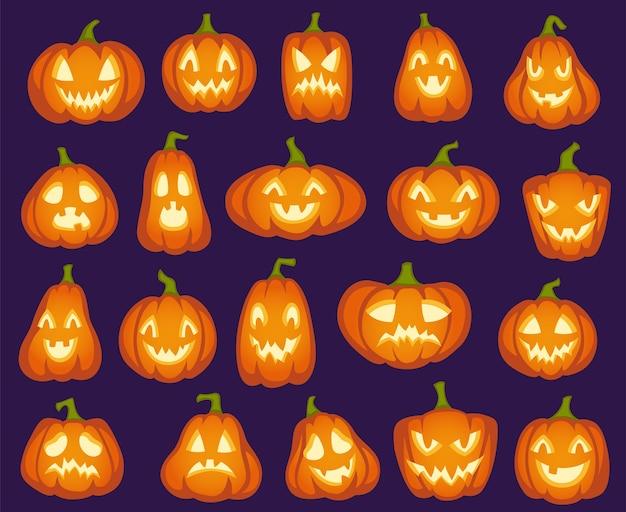 Halloween kürbisse. orange kürbis zeichen. gruselige, fröhliche und traurige, wütende lustige gesichter für halloween-urlaub. Premium Vektoren