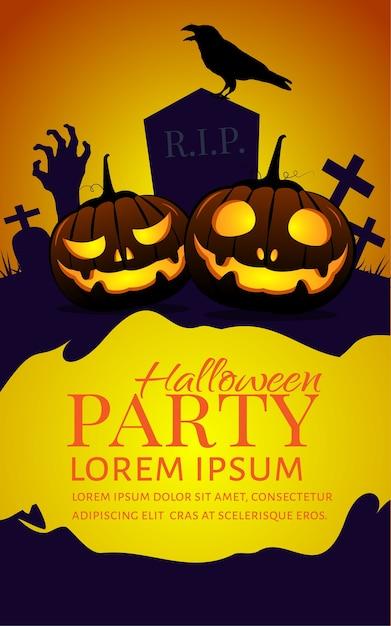 Halloween kürbisse party poster. Premium Vektoren