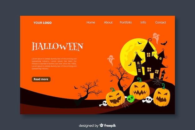 Halloween landing page im flachen design Kostenlosen Vektoren