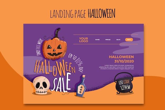 Halloween landing page vorlage Kostenlosen Vektoren
