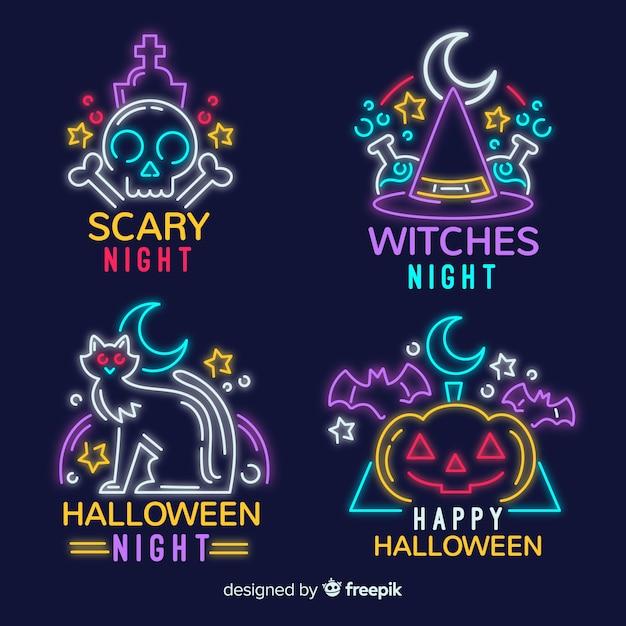 Halloween leuchtreklame sammlung Kostenlosen Vektoren