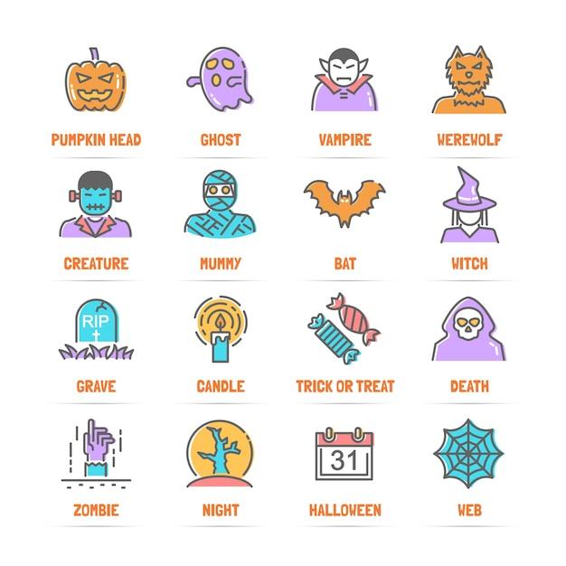 Halloween-Linie Ikonen mit flachen Farben | Download der Premium Vektor