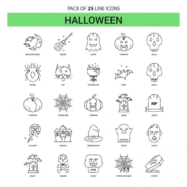 Halloween-linie ikonen-set - 25 gestrichelte entwurfs-art Premium Vektoren