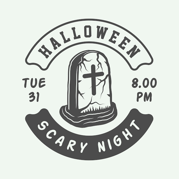 Halloween-logo, emblem, abzeichen Premium Vektoren