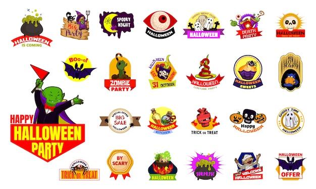 Halloween-logo gesetzt Premium Vektoren