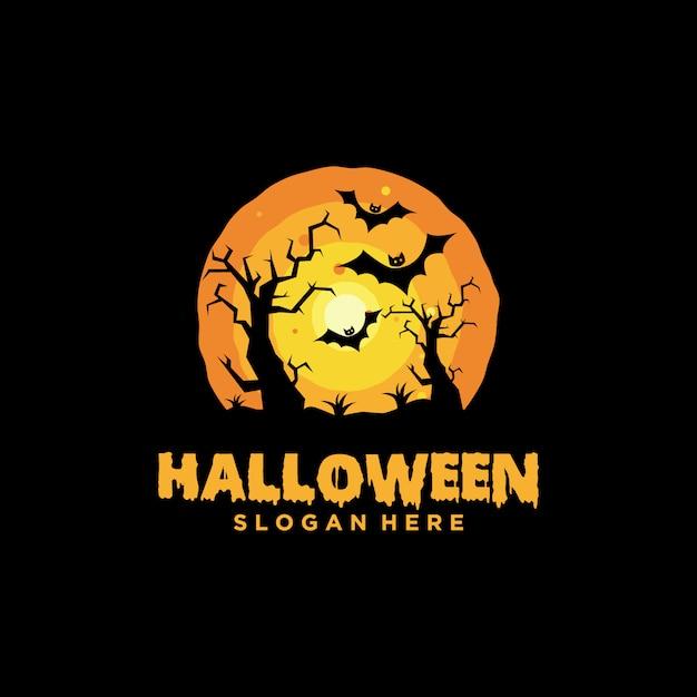 Halloween-logo mit slogan-schablone Premium Vektoren