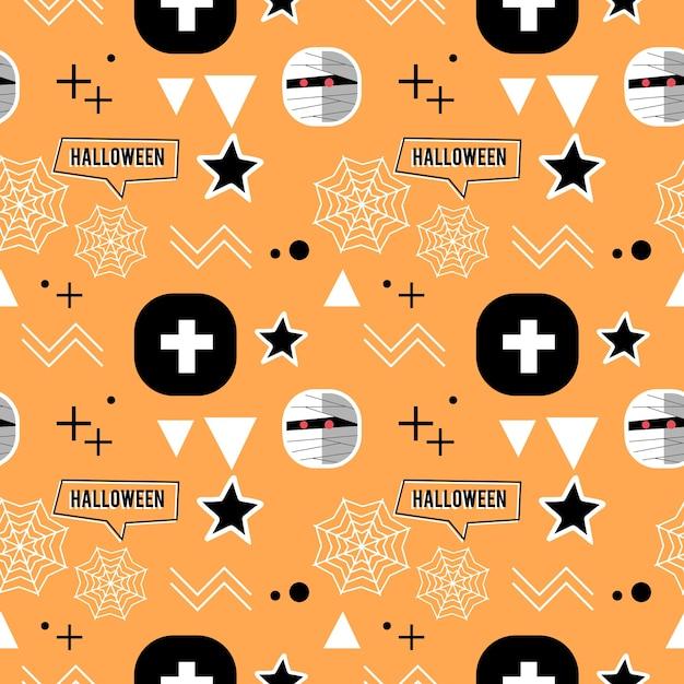 Halloween-mama und geometrisches nettes nahtloses muster Premium Vektoren