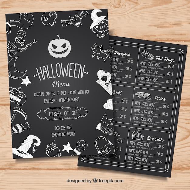 Halloween-Menü mit Skizzen   Download der kostenlosen Vektor