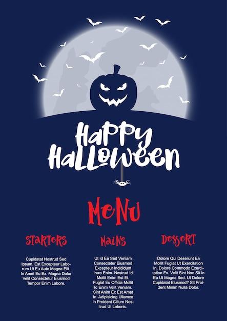 Halloween-menü-design Kostenlosen Vektoren