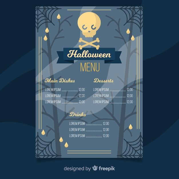 Halloween-menüschablone mit flachem design Kostenlosen Vektoren