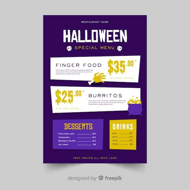 Halloween-menüvorlage im flat design Kostenlosen Vektoren