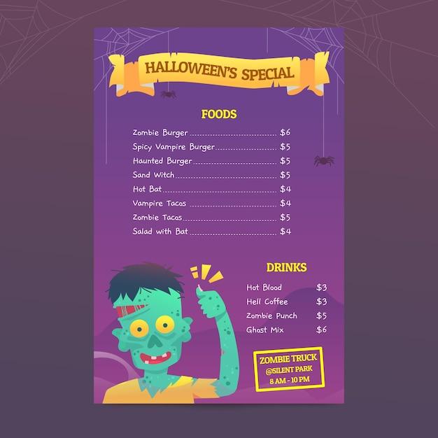 Halloween-menüvorlage Kostenlosen Vektoren