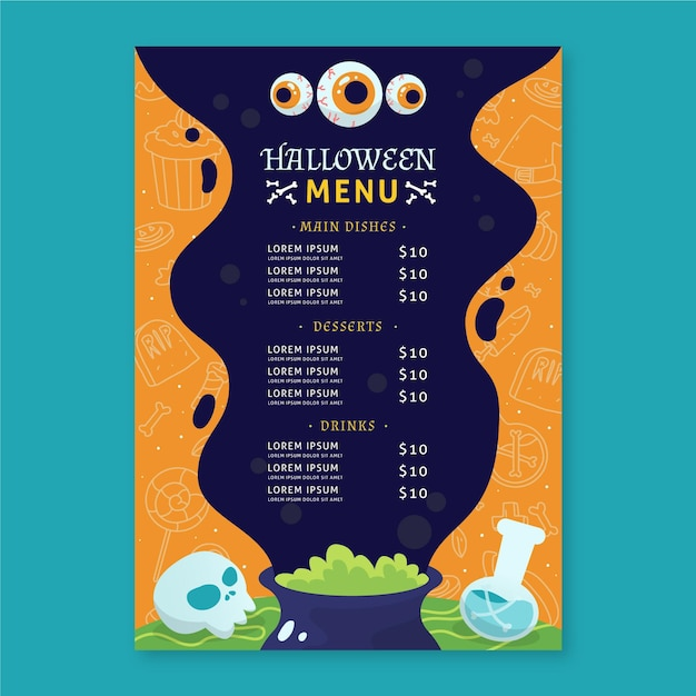 Halloween-menüvorlagenthema Kostenlosen Vektoren