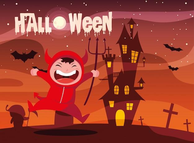 Halloween mit dem jungen, der vom teufel verkleidet wird Premium Vektoren