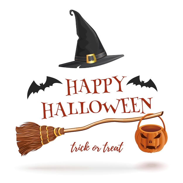 Halloween mit fledermäusen, hexenbesen und hut Premium Vektoren