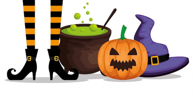Halloween mit hexenfüßen und großem kessel Kostenlosen Vektoren
