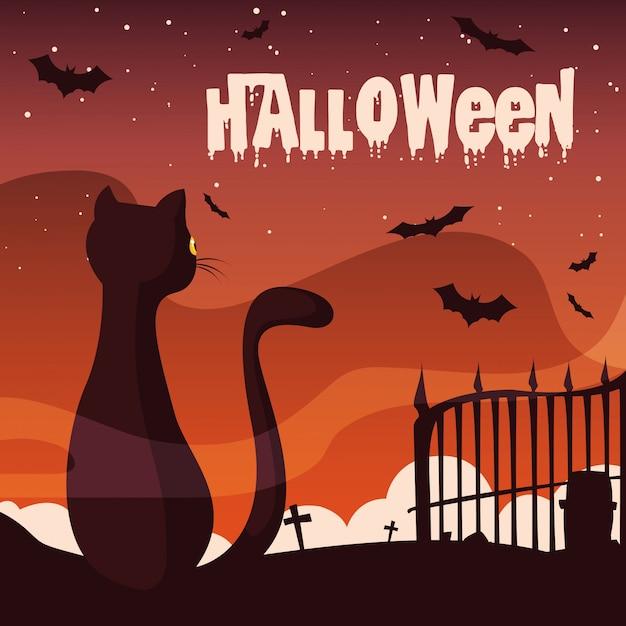 Halloween mit katze und fledermäuse fliegen Premium Vektoren