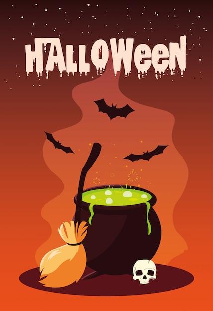 Halloween mit kessel und ikonen Premium Vektoren