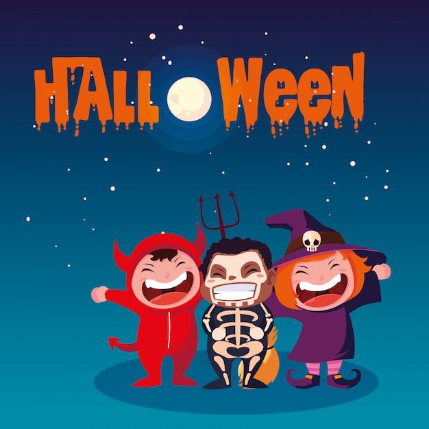 Halloween mit kindern verkleidet Premium Vektoren