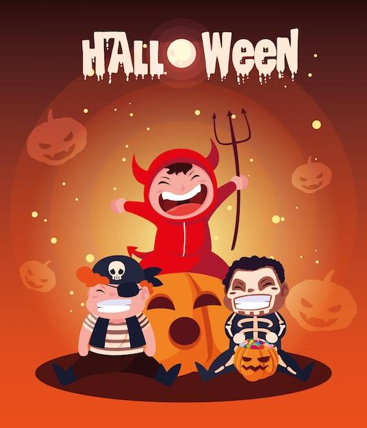 Halloween mit niedlichen kindern verkleidet Premium Vektoren