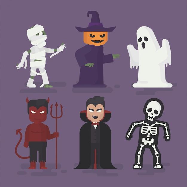 Halloween-monster-kostüme eingestellt in flaches design, halloween-charakter-illustration, geist, mama, vampir, teufel, skelett und kürbis Premium Vektoren