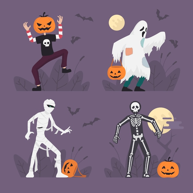 Halloween-monster-kostüme stellten in flaches design, halloween-charakter-illustration, geist, mama, skelett ein Premium Vektoren