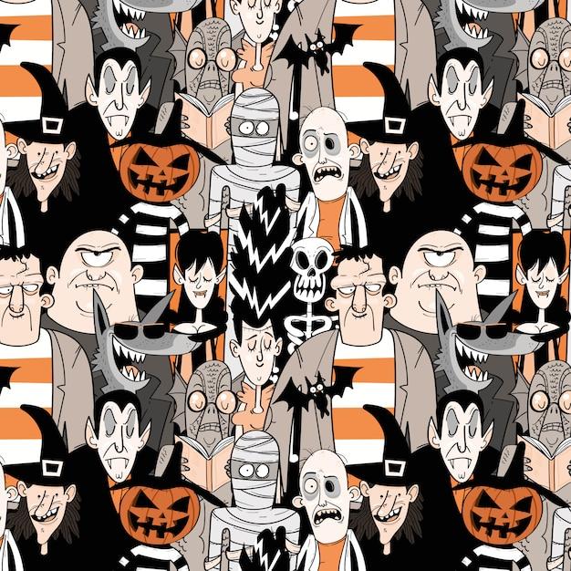 Halloween monster nahtlose muster Premium Vektoren