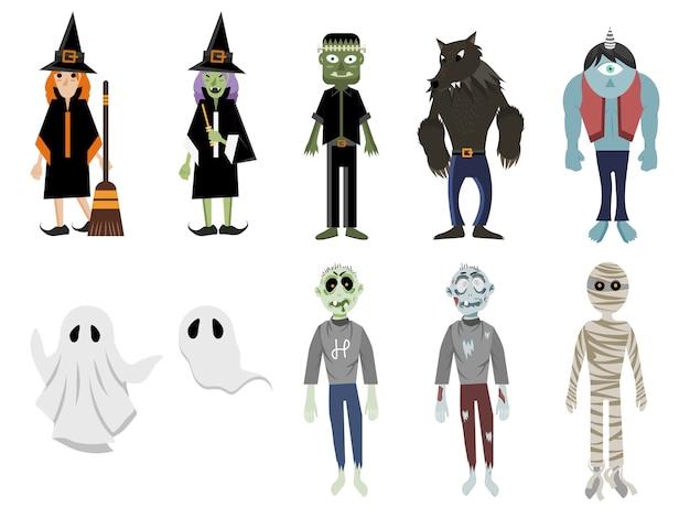 Halloween-monster-set Premium Vektoren