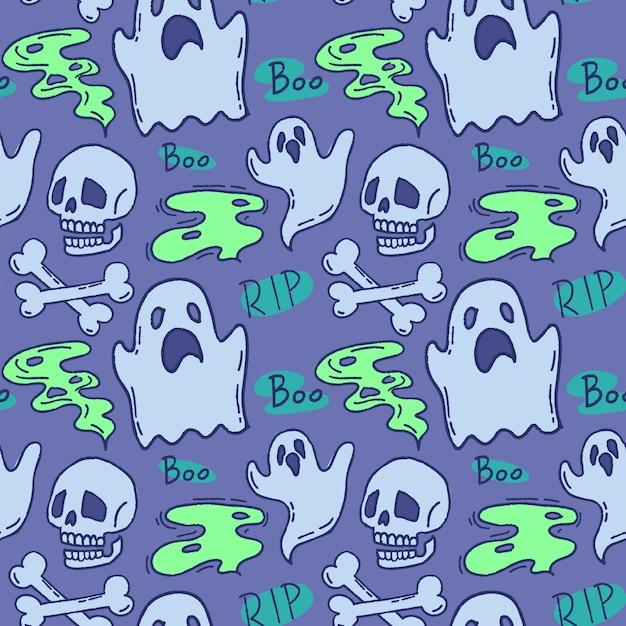 Halloween-muster. geist und schädel auf einem blauen hintergrund. Premium Vektoren