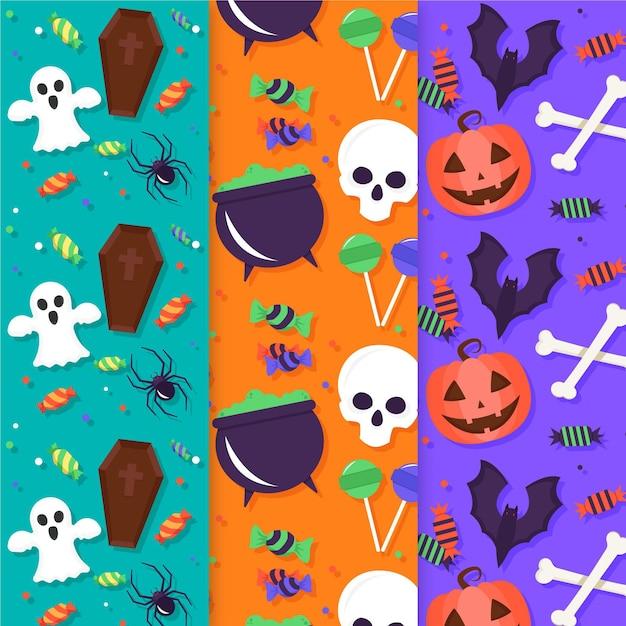 Halloween muster gesetzt Kostenlosen Vektoren