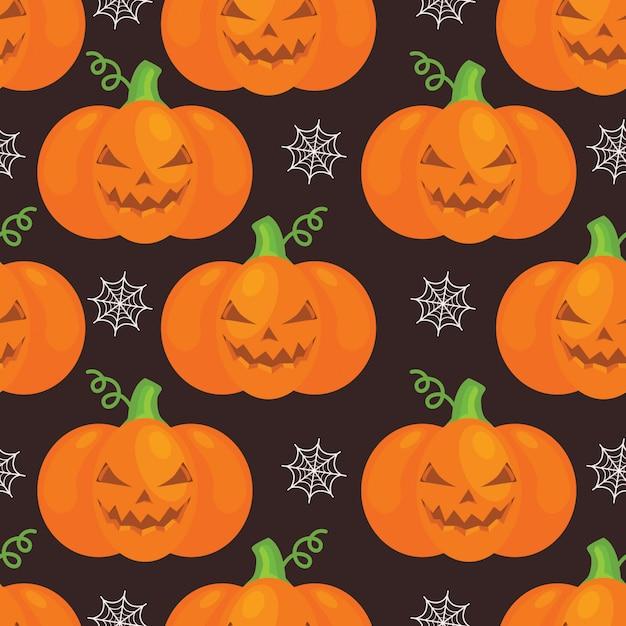 Halloween-muster mit pumkins, netz auf schwarzem hintergrund Premium Vektoren