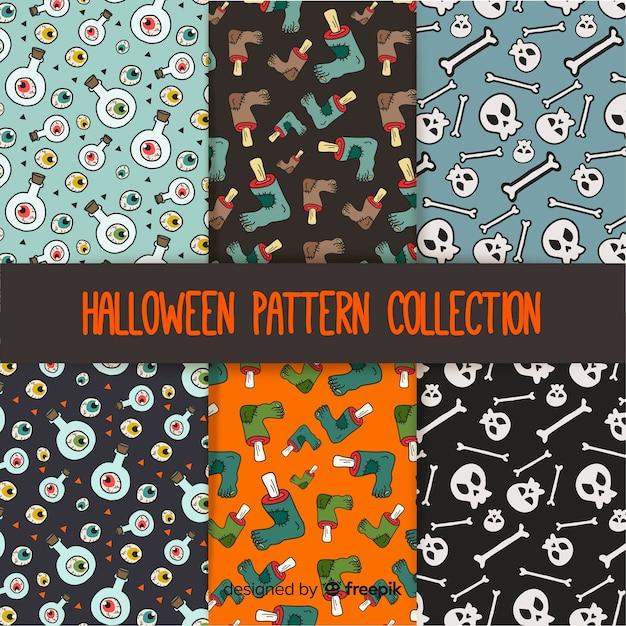 Halloween-muster mit zeichnungen Kostenlosen Vektoren