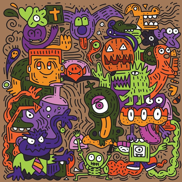Halloween-muster Premium Vektoren