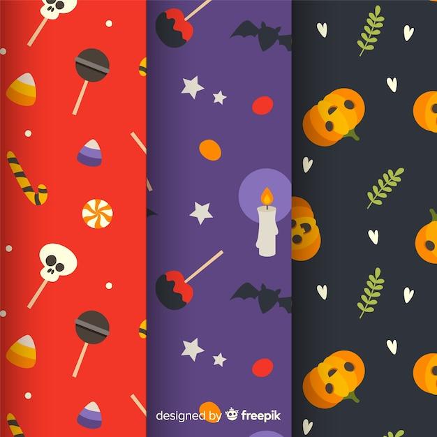 Halloween-musterkollektion im flachen design Kostenlosen Vektoren