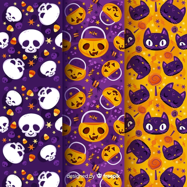 Halloween-mustersammlung des kürbisschädels und der katzen flache Kostenlosen Vektoren