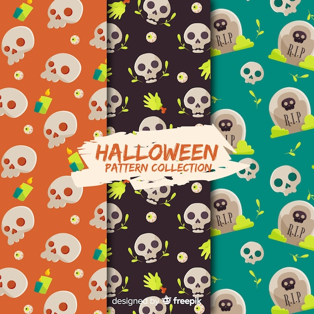 Halloween-mustersammlung mit flachem design Kostenlosen Vektoren