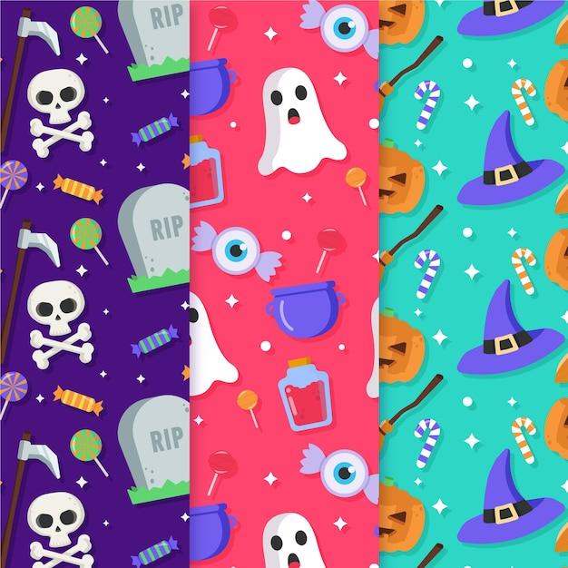 Halloween-mustersammlung Kostenlosen Vektoren