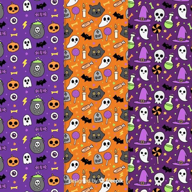 Halloween-mustersammlungshand gezeichnet Kostenlosen Vektoren