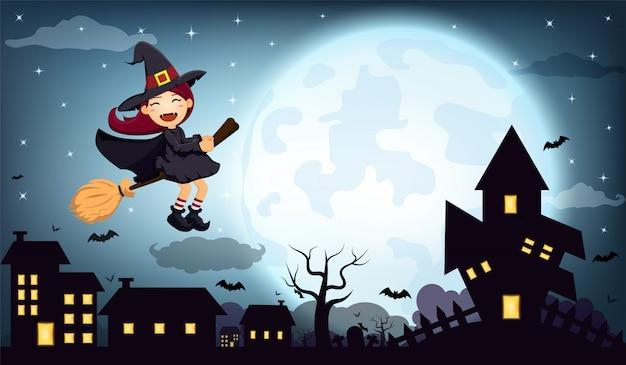 Halloween nacht hexenhaus am vollmond Premium Vektoren