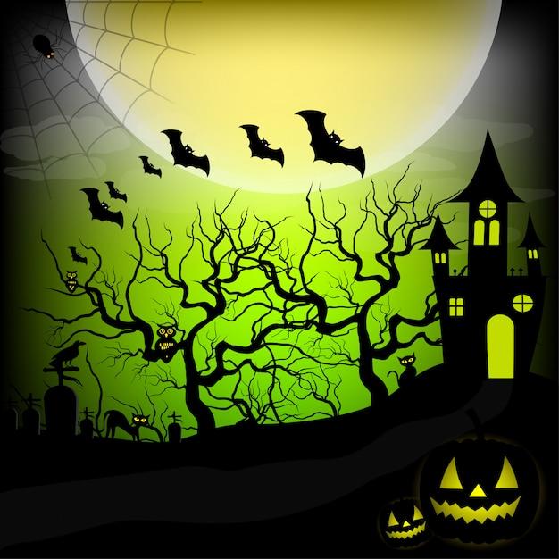Halloween nacht hintergrund vektor-illustration Premium Vektoren