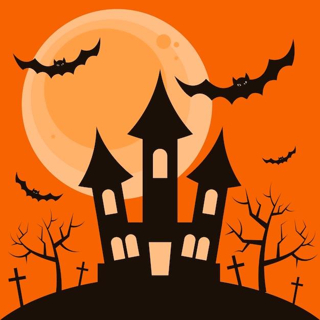 Halloween-nachthintergrund mit dem schrecklichen haus Premium Vektoren