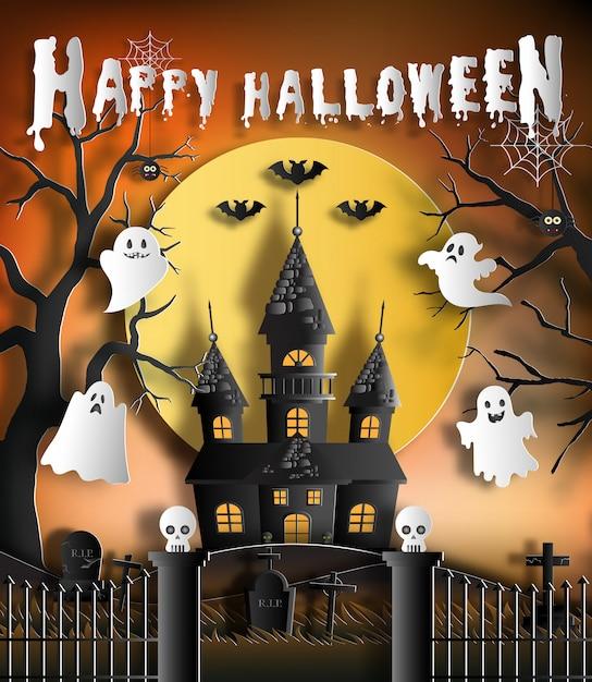 Halloween-nachthintergrund mit geisterhaus. Premium Vektoren