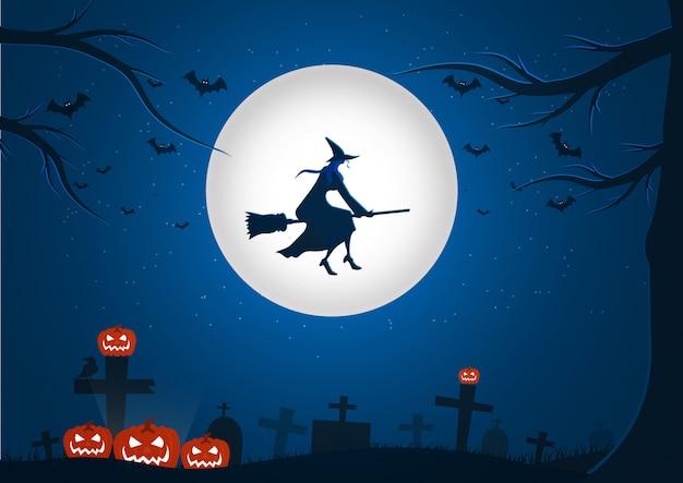 Halloween-nachthintergrundbild mit fliegenhexe und -schlägern Premium Vektoren